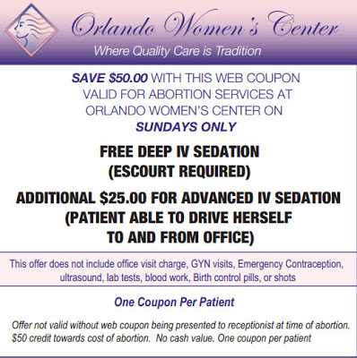 orlando abortion clinic gives women 50 usd coupon for Sunday abortions