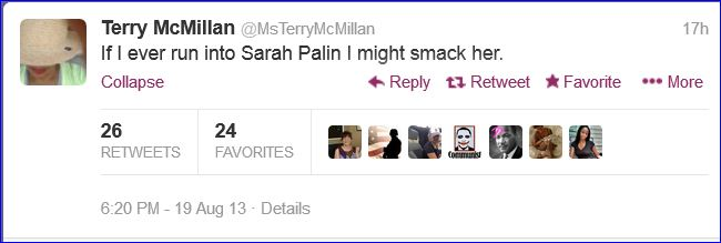 terry mcmillan threaten to smack sarah palin tweet