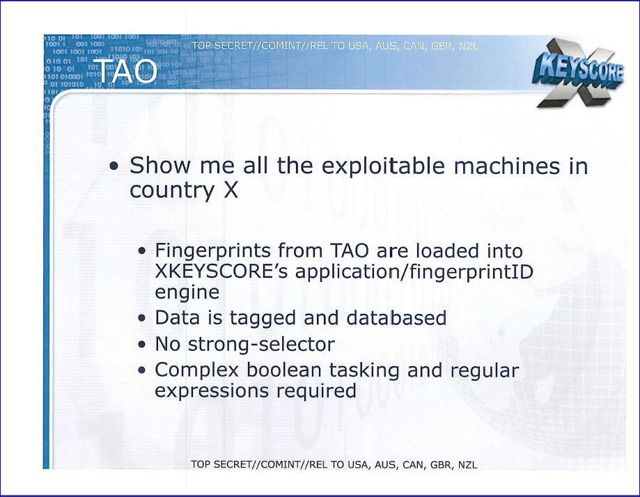 Xkeyscore page 24 search out and spy on exploitable machines