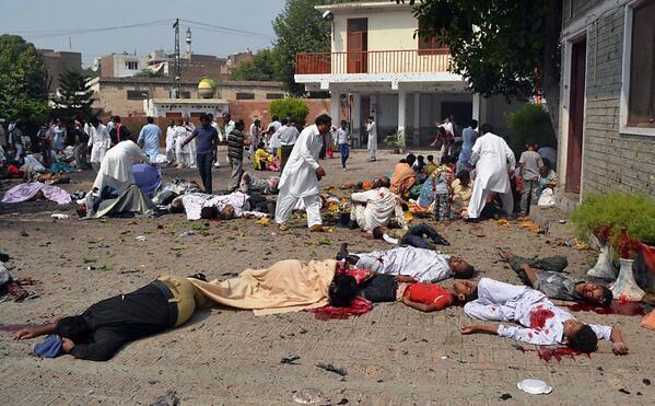 Twin suicide bombing outside of All Saints Church Peshawar Pakistan 09222013