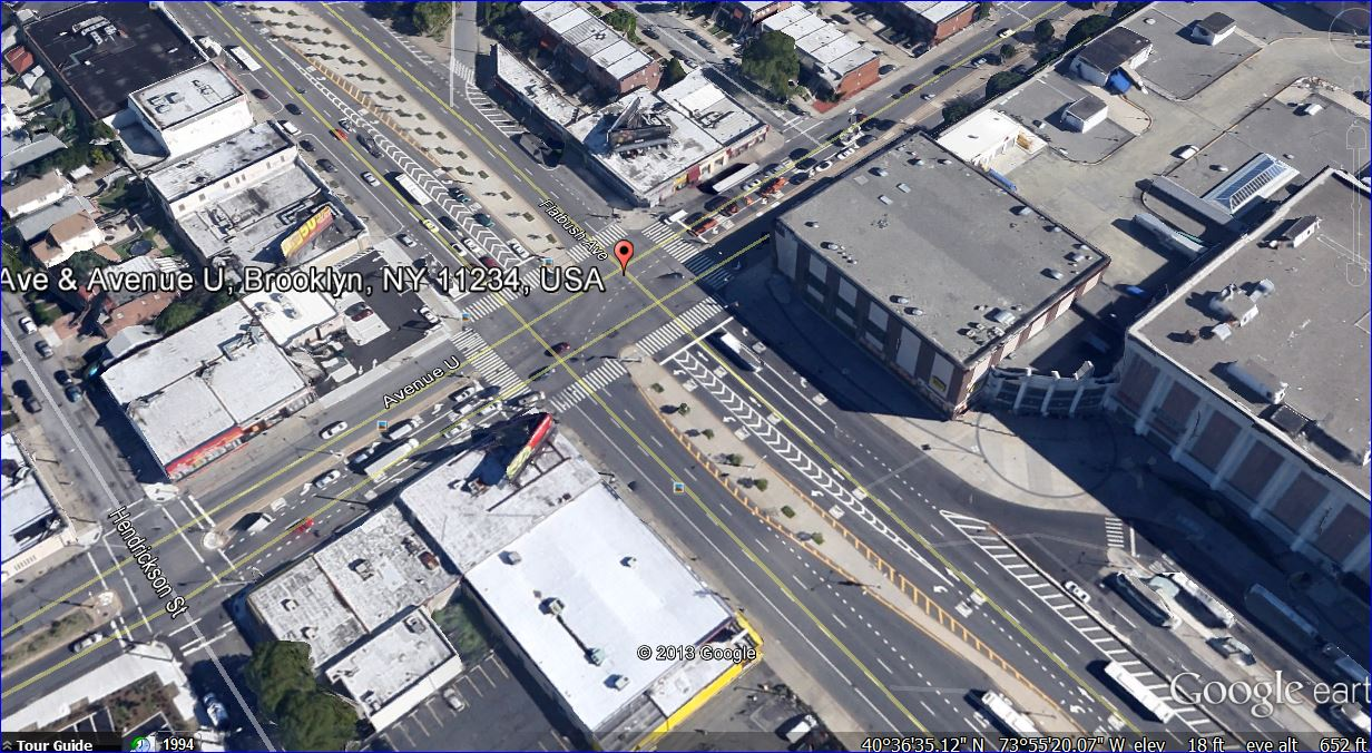 Not quite visible from the overhead screenshot, Flatbush Avenue and Avenue U (9 blocks from the crime) is frightening any hour of the day or night for drivers and pedestrians.  Flatbush Ave is five lanes in each direction; Ave U three lanes in each direction with just as many street lights and arrows to match.