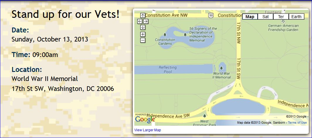 Million Vet March on the Memorials location time map
