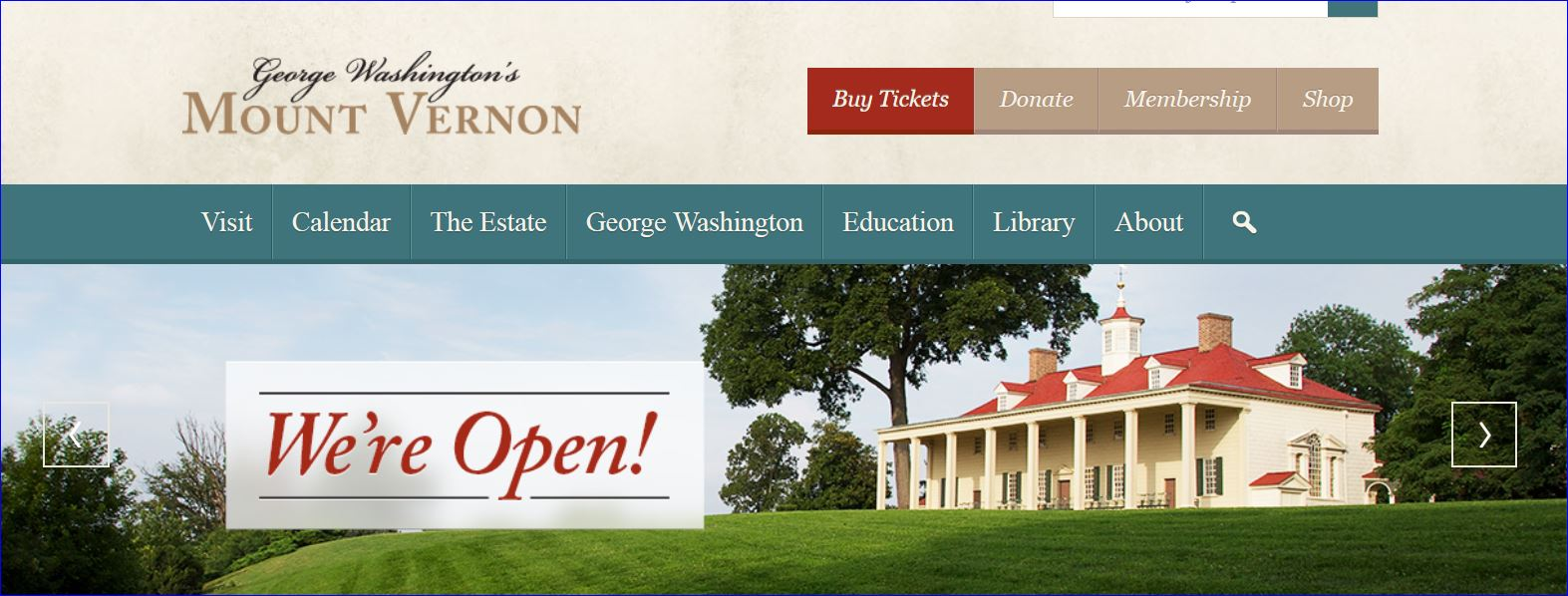 Screenshot Mount Vernon's webpage we are open