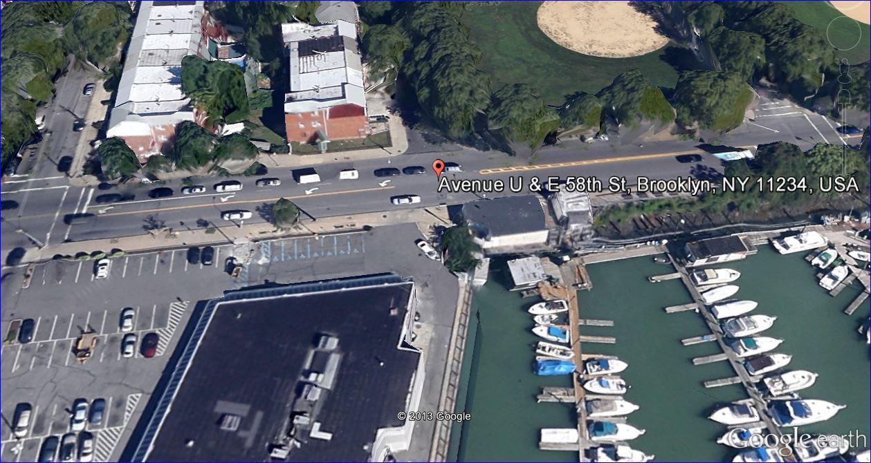 Screenshot:  Overhead view of East 58th Street and Avenue U, Brooklyn, New York.