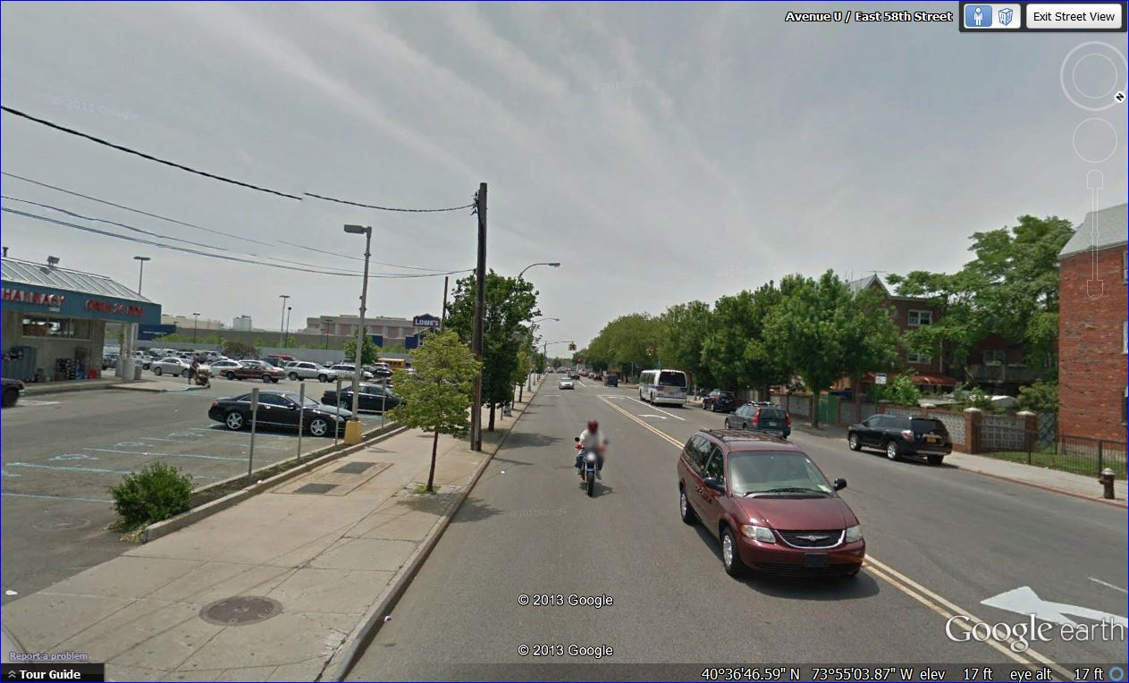 Screenshot: Street view of Avenue U between East 57th and East 58th Streets, Brooklyn, New York
