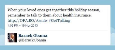 Obama thanksgiving pledge to discuss Obamacare at Thanksgiving table