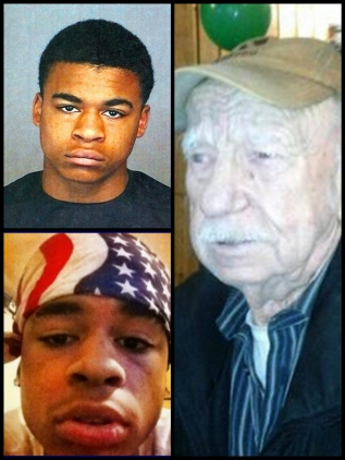 Teenagers Keenan Adams-Kinard (upper left), Demetrius Glenn (bottom left), awaiting trial for the beating death of 88 year ol World War II veteran Delbert Belton (right) summer 2013 in Spokane, Washington.