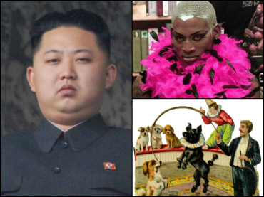 Kim Jong Un Dennis Rodman dog and pony show