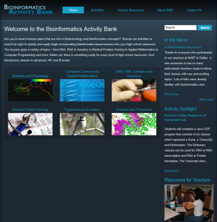 Bioinformatics Activity Bank - teachingbioinformatics_fandm_edu