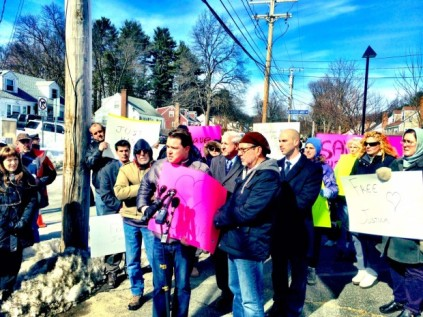 Dozens gathered Saturday outside the facility where Justina Pelletier has lived for the last few weeks after being discharged from Boston Children's Hospital. Keith Mason (center left), president of Personhood USA, spoke at the event with Rev. Patrick Mahoney (center right). (Image source: Keith Mason/Personhood USA)