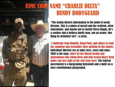 USMC Charlie Delta does not think that Cliven Bundy is racist
