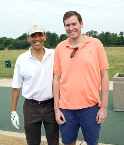 One of the perks of his former position as press secretary to Speaker of the House John Boehner, Chattahoochee High School graduate Brendan Buck gets the chance to play golf with President Barack Obama. Image courtesy of NorthFulton.com.