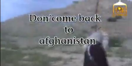 Screenshot of Taliban release video of Bergdahl message don't come back to Afghanistan 06042014