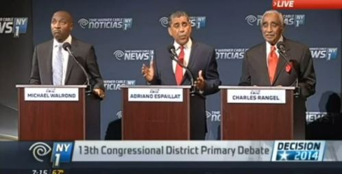 screenshot State Sen. Adriano Espaillat Rev. Michael Walrond and Charles Rangel NY1 debate
