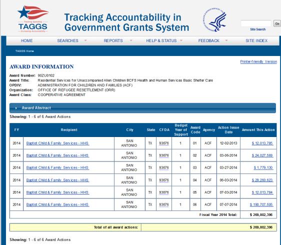 screenshot BCFS federal award grants 2013 and 2014