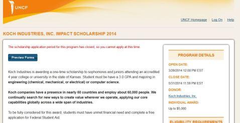 screenshot koch industries scholarship uncf