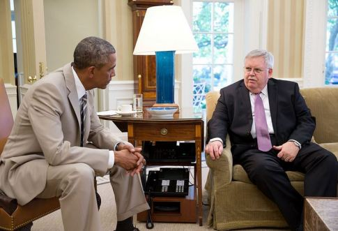 Posted by White House press, Barack Obama meets with John Teft, U S Ambassador to Russia.