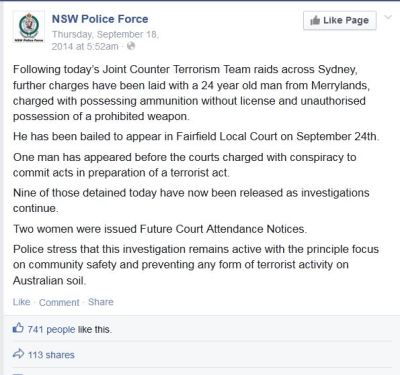 screenshot Australian police Facebook page