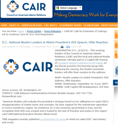 screenshot cair talking points islam is not islamic message to barack obama