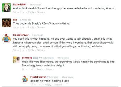 screenshot comments re de blasio murder of groundhog Chuck aka Charlotte 003 gothamist