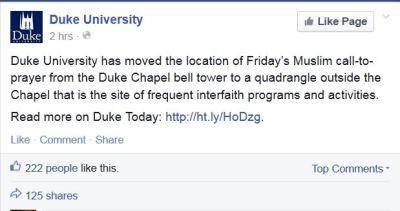 Screenshot Duke University Call the prayer decision 01152014