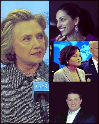 Hillary Clinton, Philippe Reines (top right), Cheryl Mills (center right) and Huma Abedin (bottom right),  all confidantes and top aides of Clinton's State Department alleged to have used clintonemail.com.