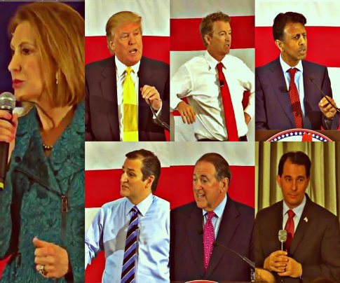 Republican Leadership Summit 2015, Carly Fiorina, Donald Trump, Ted Cruz, Rand Paul, Bobby Jindal, Mike Huckabee and Scott Walker Collage 002