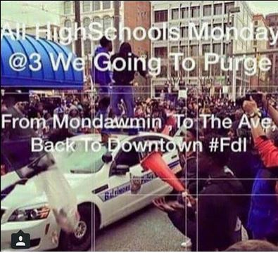 Baltimore riots - Purge flier distributed throughout social media to high school students 04272015 (screenshot).