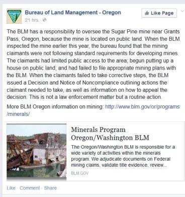 Screenshot Bureau of Land Management Oregon Facebook post 04152015