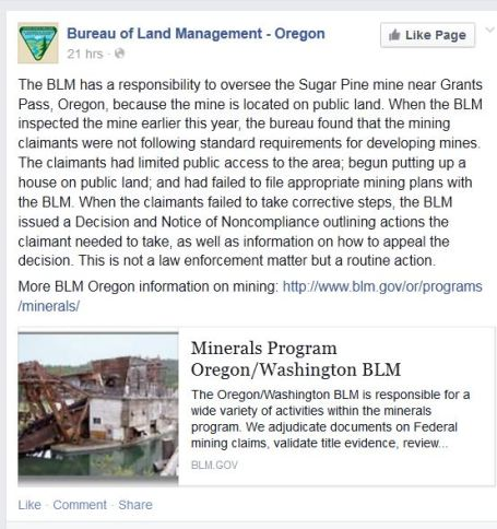 Screenshot Bureau of Land Management Oregon Facebook post 04152015