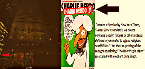 BEFUNKY Collage New York Times building Charlie Hebdo NYT Quote