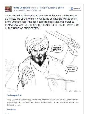 screenshot my facebook post re Boch Fawstin Muhammad Cartoon 05072015