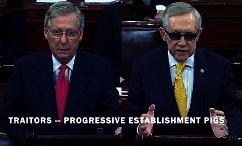 Senators Mitch McConnell Harry Reid Progressive Establishment Pigs