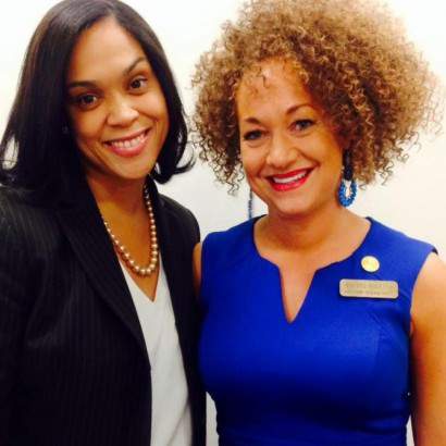 Baltimore Prosecutor Marilyn Mosby and Rachel Dolezal President, NAACP Spokane. Photo source: Facebook.