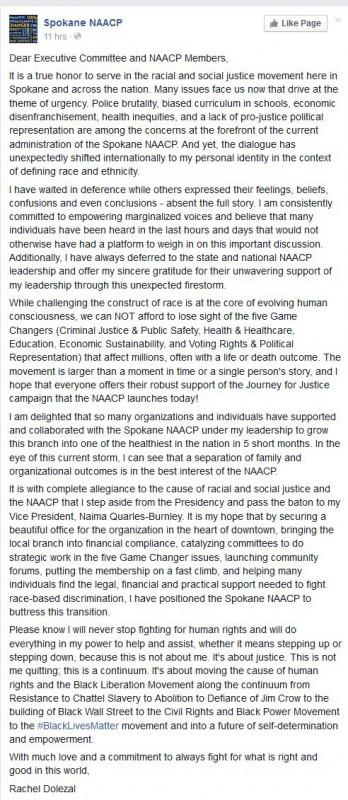 Rachel Dolezal president Spokane NAACP Resignation - Facebook 06152015