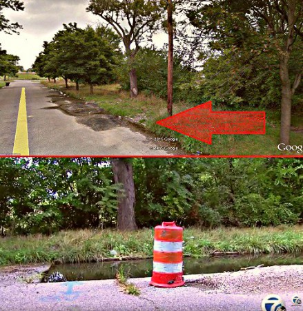 ABOVE PHOTOGRAPH - Top image: sinkhole per Google Earth; Bottom image: sinkhole after residents transformed it into fishing hole. In the meantime, the city of Detroit says repairing the sinkhole is not their responsibility and is pointing the finger at the utility company.