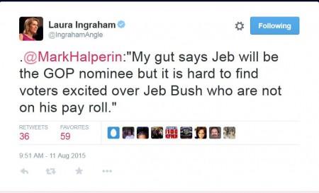 Laura Ingraham Tweet re Jeb Bush 08112015