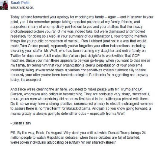 Sarah Palin Facebook Response to RedState Erick Erickson 08152014 002