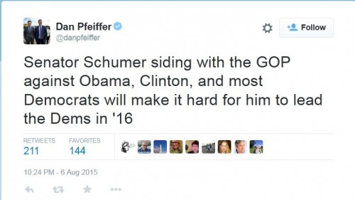 screenshot dan pfeiffer tweet attack chuck schumer opposition to iran deal 001