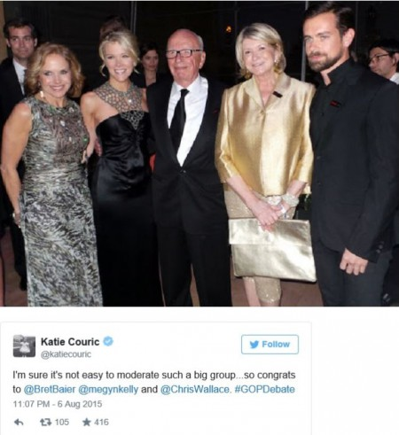 screenshot katie couric tweet to megyn kelly with photograph of Kelly Couric and hubby and Rupert Murdoch