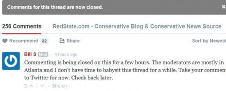 screenshot redstate moderator closes comments under Erick Erickson article disinviting Trump to Redstate Gathering