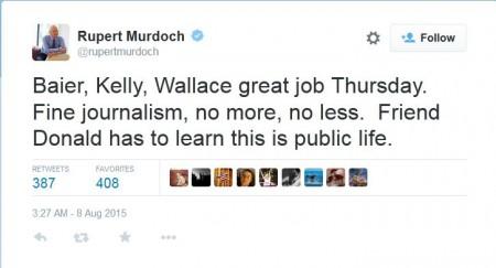 screenshot rupert murdoch tweet post fox news gop debate about trump 08072015
