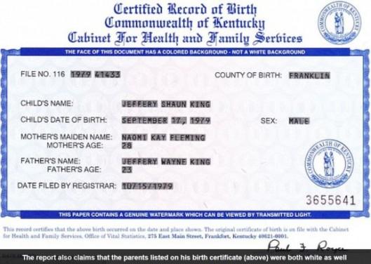 screenshot shaun king birth certificate daily mail