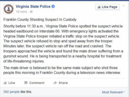 screenshot virginia police update in wdbj on air shooting