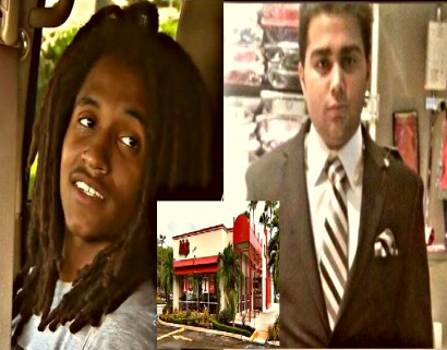 Arby's employees, Kenneth Davenport (left) ; manager, Angel Mirabal (right).