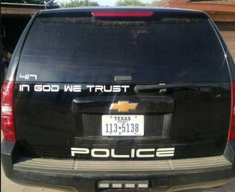 """In God We Trust"" decal placed on all Childress Police Department vehicles (Facebook)."