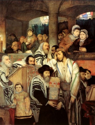 Gottlieb-Jews Praying in the Synagogue on Yom Kippur wikimedia commons public domain