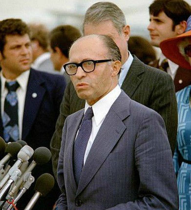 Menachem Begin upon arrival at Andrews Airforce Base, Maryland in 1978 wikimedia commons public domain