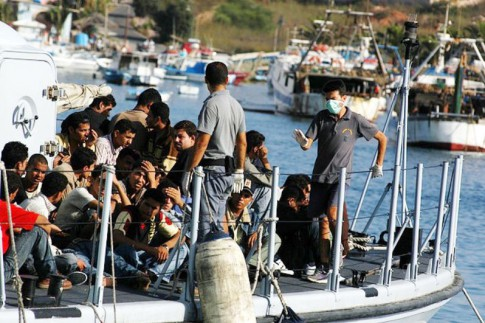 Migration to Lampedusa from syria 2007. Image courtesy of Sara Prestianni /noborder network. Wikipedia, creative commons license.