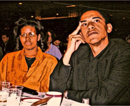 BEFUNKY barack and michelle obama arafat fundraiser in 1997